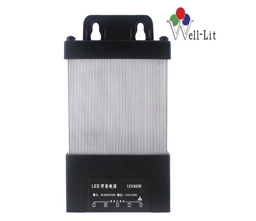 12V 0-5A 60W Constant Voltage Rainproof LED switching Power Supply with CE,ROHS certificate