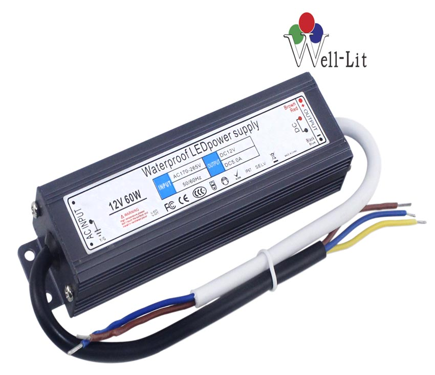 12V 0-5A 60W Slim Constant Voltage Waterproof LED Power Supply
