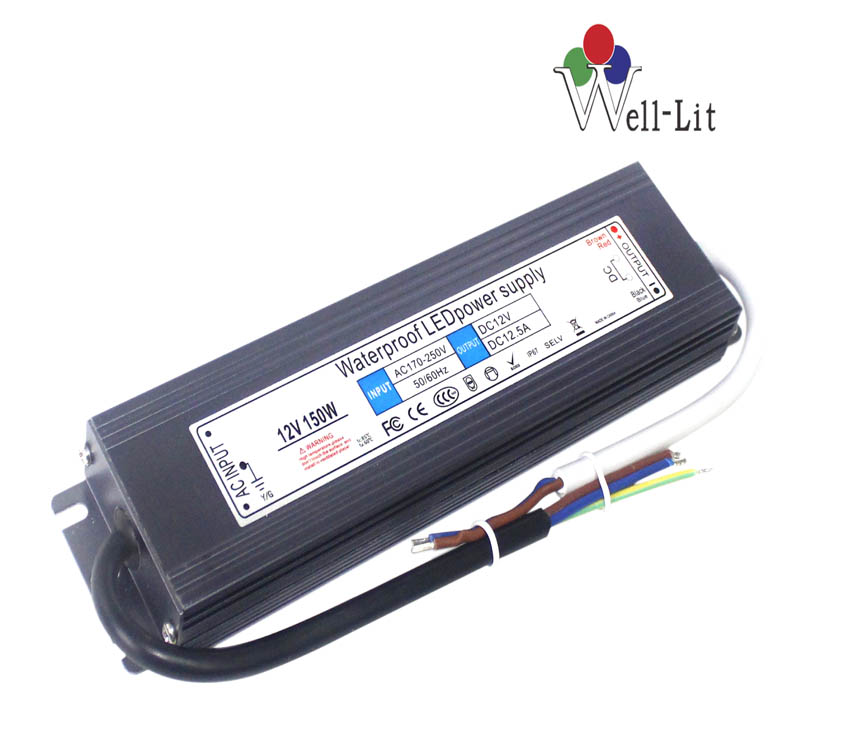 12V 0-12.5A 150W Slim Constant Voltage Waterproof LED Power Supply