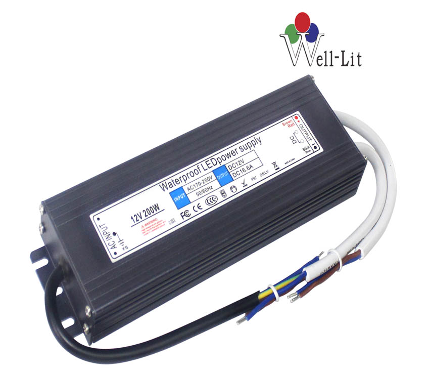 12V 0-16.7A 200W Slim Constant Voltage Waterproof LED Power Supply
