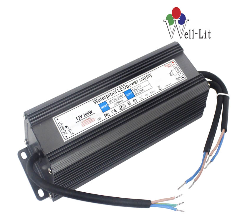 12V 0-25A 300W Slim Constant Voltage Waterproof LED Power Supply